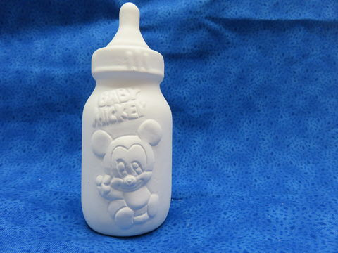 Baby,Mickey,Mouse,Bottle,Bank,Ceramic,Bisque,Disney, Mickey Mouse Bottle Bank, ceramic bisque, ready to paint,kg krafts,shower favors