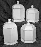 Hexagon Canister Set Four Piece Set Ceramic Bisque Ready to Paint  - product images