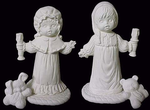 Boy,and,Girl,Holding,Candles,Boy and Girl Holding Candles,nowell molds ,ceramic, Bisque, Ready to Paint,ready to finish,kg krafts