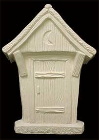 Out,House,Plaque,Out House Plaque, ceramachrome molds,ceramic, Bisque, Ready to Paint,ready to finish,kg krafts