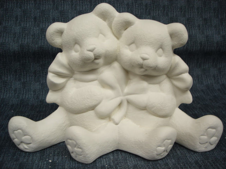 Ready to Paint Ceramic Bisque 4.5 X 6.5 Cuddle Bears with Heart Valentine C363