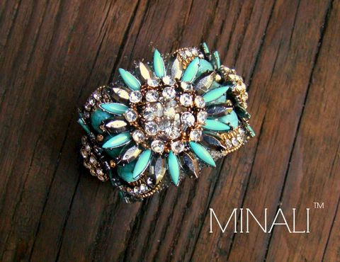 FLORES,-,TURQUOISE,FLOWER,CUFF,BRACELET,cuff, cuffs, cuffbracelets, braclet, bracelets, jewelry, statement, statementjewelry, runway, couture, chanel, dior, fashion, bohemian,turquoise,flower,gold,diamond