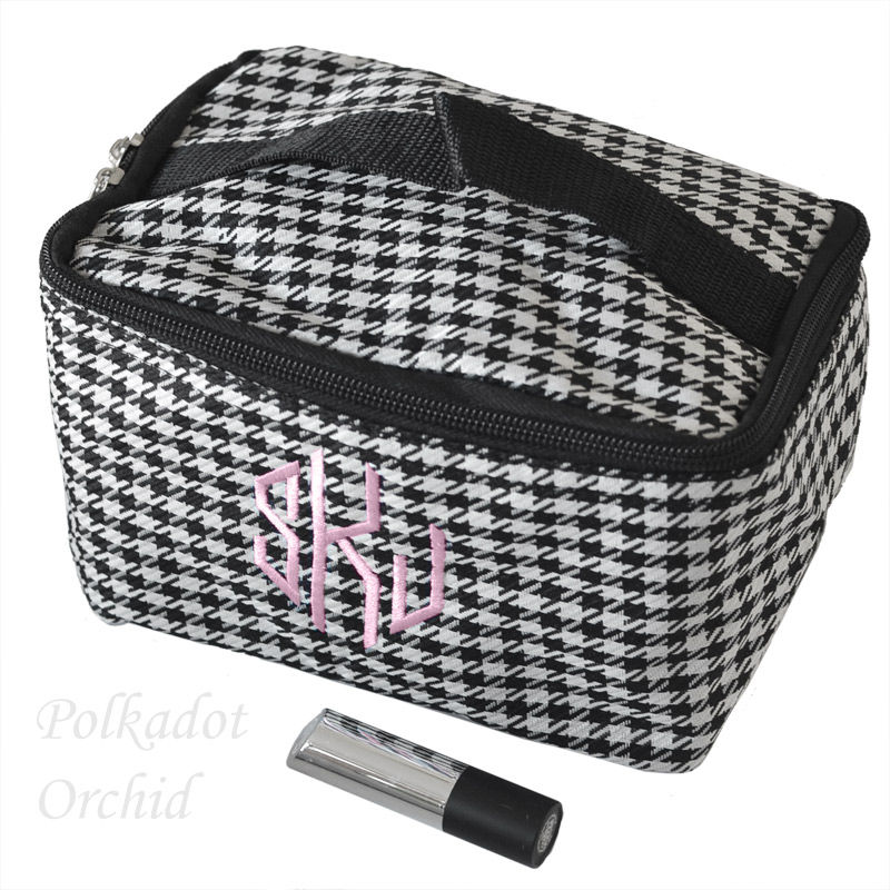 Monogrammed Houndstooth Cosmetic Case - product image