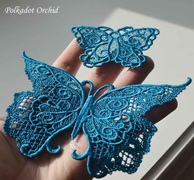 "Lace Butterfly Appliques - 5.3"" or 2.75"" - product images  of"