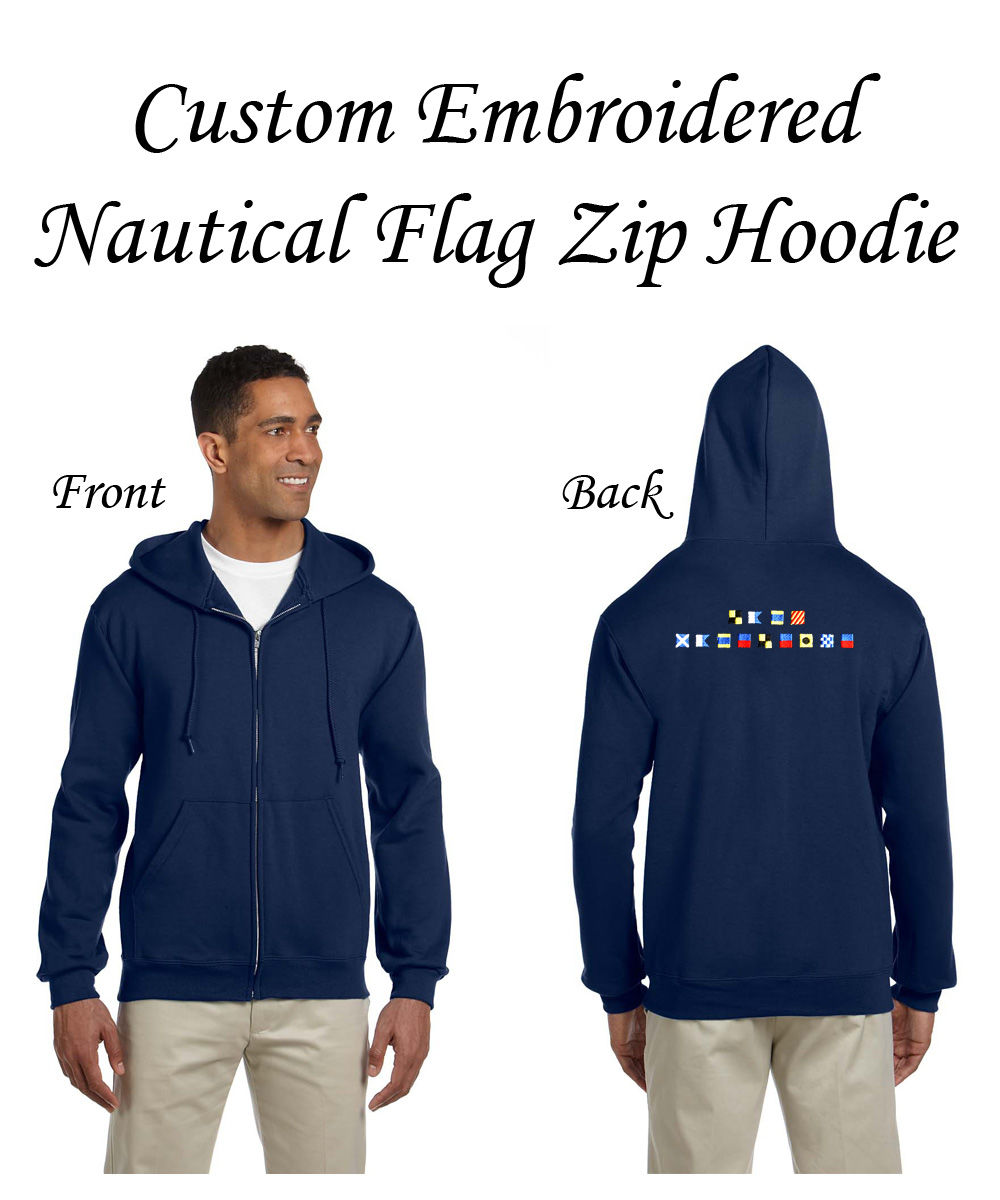 Custom Embroidered Nautical Flag Zip Hoodie - product image