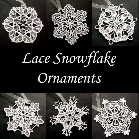Snowflake,Lace,Ornaments,ornament, snowflake, lace, Christmas, tree, white, heirloom
