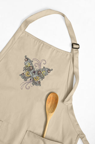 Steampunk,Mechanical,Butterfly,Embroidered,Apron,embroidered, apron, butterfly, mechanical, steampunk, personalize, custom, kitchen, food