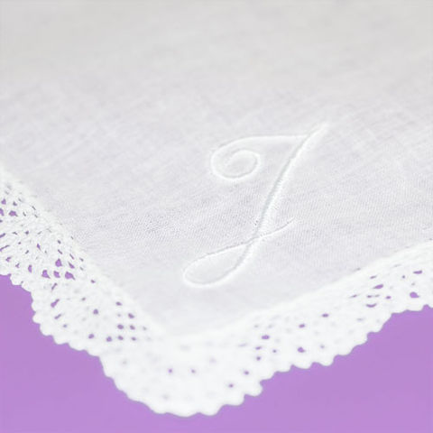 Handkerchief,with,Initial,Monogram,monogrammed, custom, handkerchief, hankie, personalized, initial, embroidered, white, lacy, mens, womens