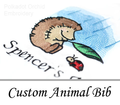 Personalized,Springtime,Animal,Baby,Bibs,baby, bib, animal, rabbit, frog, squirrel, lamb, mouse, hedgehog, toadstool, ladybug, rain