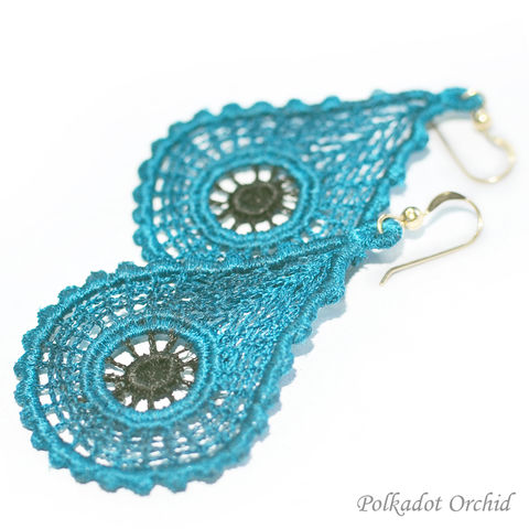 Modern,Lace,Earrings,Using,Two,Custom,Colors,lace, earrings, custom, favorite color, dangle, fashion, accessory, jewelry