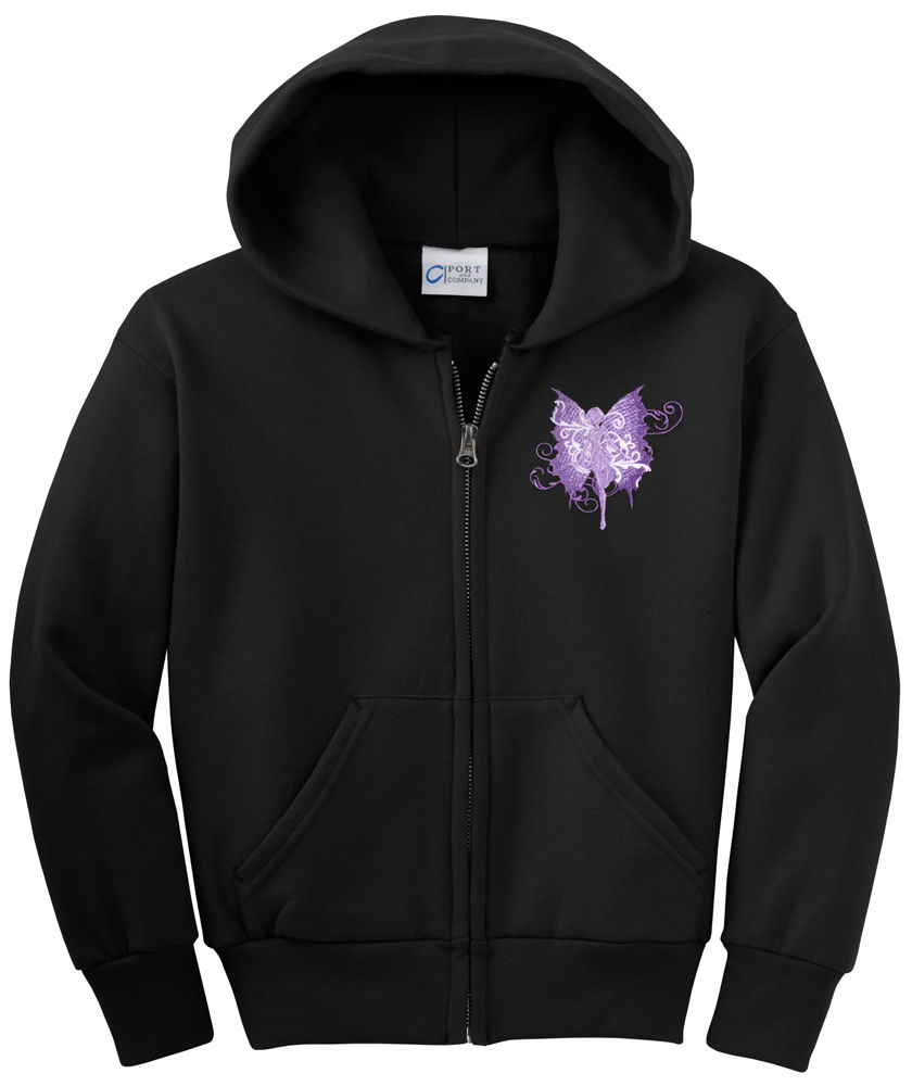 Fairy Embroidered Zip Hoodie - Polkadot Orchid Embroidery