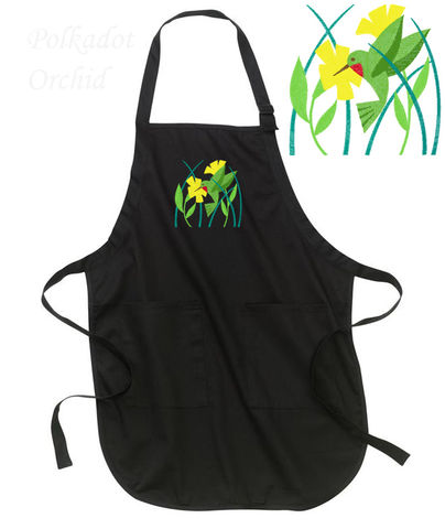 Country,Hummingbird,Embroidered,Apron,embroidered, apron, hummingbird, bird, country, kitchen