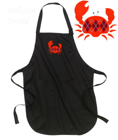 Argyle,Crab,Embroidered,Apron,crab, embroidered, apron, nautical, kitchen, crustacean, shellfish, red