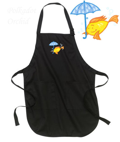 Whimiscal,Goldfish,Embroidered,Apron,goldfish, embroidered, apron, nautical, fish, umbrella, whimsical
