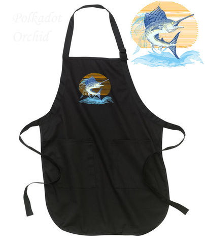 Embroidered,Sailfish,Apron,sailfish, embroidered, apron, nautical, fish, fishing