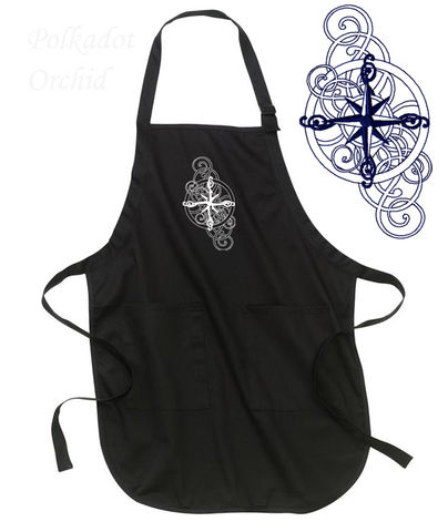 Compass,Rose,Apron,apron, embroidered, nautical, compass rose