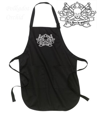 Embroidered,Apron,with,Nautical,Pirate,Message,embroidered, apron, nautical, pirate, black