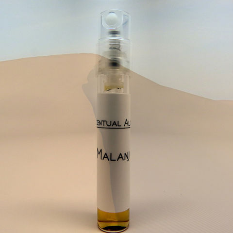Malanj,natural,perfume,mini,spray,natural perfume, botanical perfume, esscentual alchemy, indie fragrance, artisan perfume, bath and body, beauty, perfume samples, oriental, sandalwood, benzoin, patchouli, coffee, lotus, clove, ginger lily, litsea cubea, nutmeg, spicy fragrance, spray sam