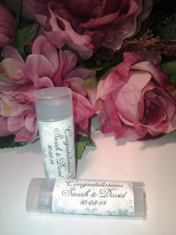 Personalized,Wedding,(or,Shower),Blue,Damask,Lip,Balm,custom, personalized, wedding shower, gift, wedding