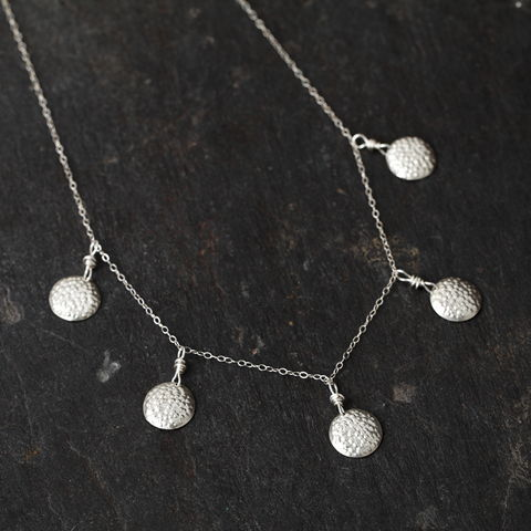 Tiered,Bumpy,Disc,necklace,(Sterling,Silver),Handmade necklace, sterling silver necklace, sterling silver chain