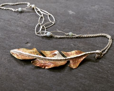 Feather,Necklace,Feather necklace, metal jewelry, handmade, handcrafted jewelry, leaf necklace, one of a kind necklace, brass, Sterling silver chain, long necklace,