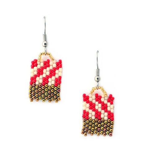 Candy,Cane,Brick,handmade, red brick, bronze checkers, peyote, beaded, checkered earrings, bronze jewelry, beaded earrings, boho, geometric fashion, modern, hotgirlsbead, white checkers, beaded jewelry, artisan jewelry, bricks
