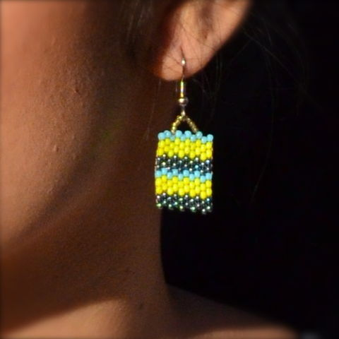 Ocean,View,Stripes,handmade, square earrings, peyote, beaded, yellow chevron, earrings, chevron jewelry, beaded earrings, boho, geometric fashion, modern, hotgirlsbead, beaded jewelry, artisan jewelry, chic