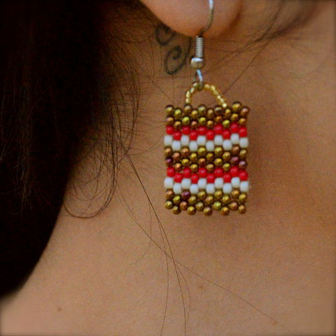 Red,Bronze,Zepra,handmade, bronze red stripes, bronze stripes, peyote, beaded, red geometric earrings, bronze jewelry, beaded earrings, boho, geometric fashion, modern, hotgirlsbead, beaded jewelry, artisan jewelry