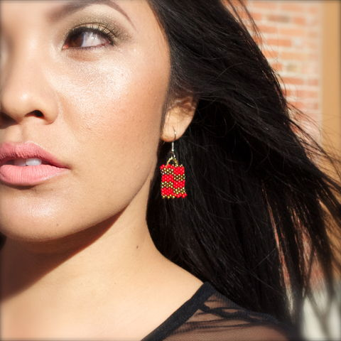 Red,Brick,handmade, red brick, bronze checkers, peyote, beaded, checkered earrings, bronze jewelry, beaded earrings, boho, geometric fashion, modern, hotgirlsbead, beaded jewelry, artisan jewelry, bricks