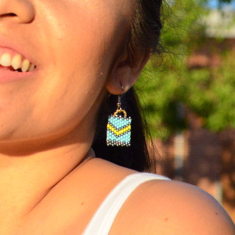 Ocean,View,Chevron,handmade, square earrings, peyote, beaded, yellow chevron, earrings, chevron jewelry, beaded earrings, boho, geometric fashion, modern, hotgirlsbead, beaded jewelry, artisan jewelry, chic