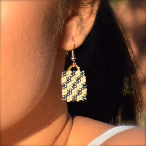 Blue,Ice,handmade, charm, peyote, beaded, checkered earrings, bronze jewelry, beaded earrings, boho, geometric fashion, modern, hotgirlsbead, metallic blue, metallic jewelry, beaded jewelry, artisan jewelry, chic
