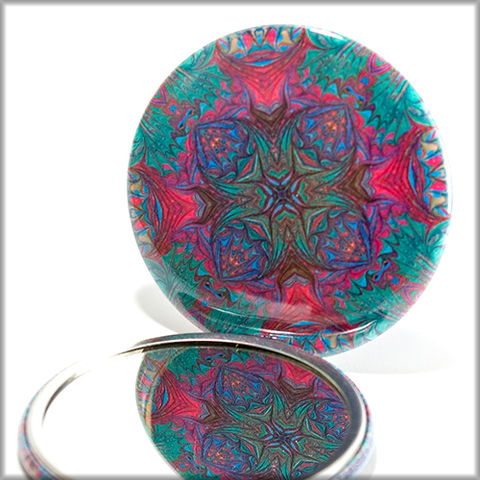 mandala,mirror,no.,12,Accessories,Mirror,pocket_mirror,mandadala_mirror,handpressed,glass_mirror,miniature,kaleidoscope,purse_mirror,zen,multi-color_mirror,small_mirror