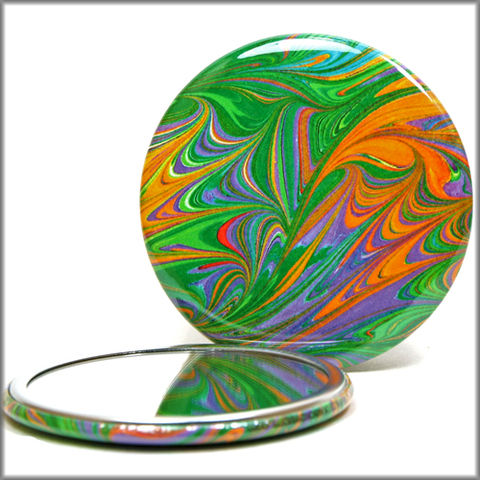 marbled,paper,mirror,no.,3,pocket_mirror,handpressed_glass_mirror,marbled_paper,purse_mirror,art_mirror