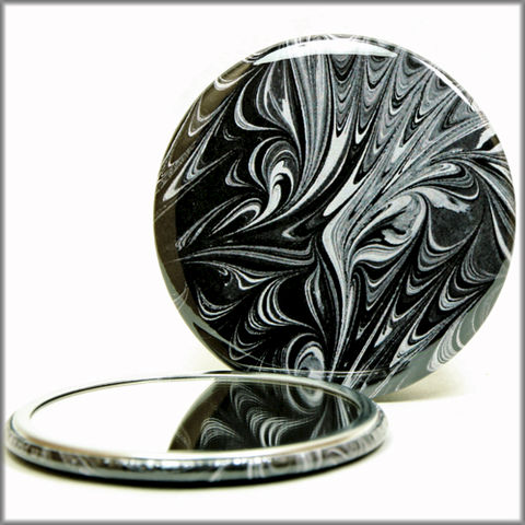 marbled,paper,mirror,no.,6,Glass,Mirror,Pocket,pocket_mirror,handpressed,glass_mirror,miniature,rainbow,marbled_paper,marbling,purse_mirror,hand_pressed,small_mirror,black_and_white,classic_colors