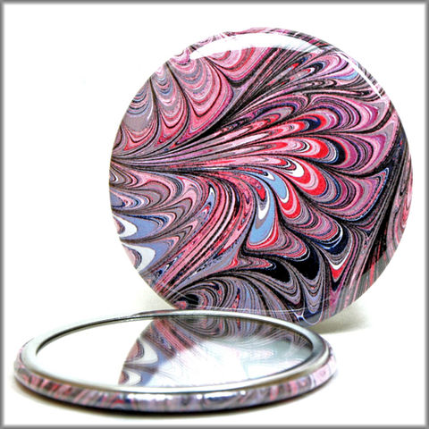 marbled,paper,mirror,no.,7,Glass,Mirror,Pocket,pocket_mirror,handpressed,glass_mirror,miniature,marbled_paper,marbling,purse_mirror,hand_pressed,small_mirror,art_mirror,red_white_and_blue,accessory