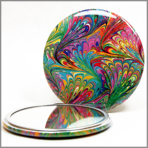 marbled,paper,mirror,no.,1,marbled_paper_pocket_mirror,glass_mirror,rainbow,marbled_paper,purse_mirror