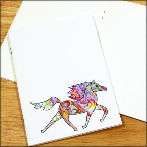 Rainbow,Horse,Marbled,Paper,Notebook,horse notebook, marbled paper notebook, marbled horse, small notebook, mini notebook, travel notebook, travel journal, diary, horse journal, pony notebook, rainbow notebook, rainbow horse