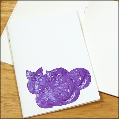 Purple,Cat,Trio,Marbled,Paper,Notebook,cat notebook, marbled paper notebook, marbled cat, small notebook, mini notebook, travel notebook, travel journal, diary, cat journal, kitty notebook