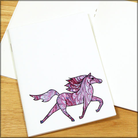 Purple,Horse,Marbled,Paper,Notebook,horse notebook, marbled paper notebook, marbled horse, small notebook, mini notebook, travel notebook, travel journal, diary, horse journal, pony notebook