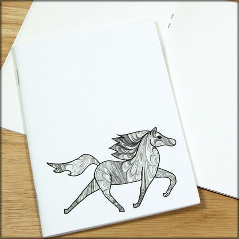 Black,and,White,Horse,Marbled,Paper,Notebook,horse notebook, marbled paper notebook, marbled horse, small notebook, mini notebook, travel notebook, travel journal, diary, horse journal, pony notebook