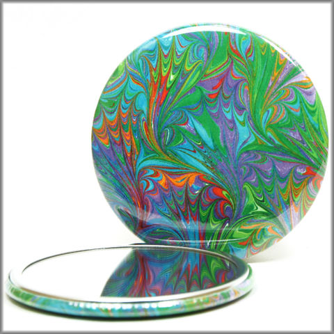 marbled,paper,mirror,no.,9,Glass,Mirror,Pocket,pocket_mirror,handpressed,glass_mirror,miniature,marbled_paper,marbling,purse_mirror,hand_pressed,small_mirror,art_mirror,turquoise-pocket_mirror, orange pocket mirror, red pocket mirror, purple mirror, green mirrormirror,access