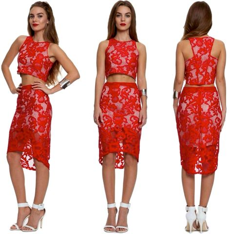 FIRE,ON,TWO,PIECE,LACE,SET,-,RED
