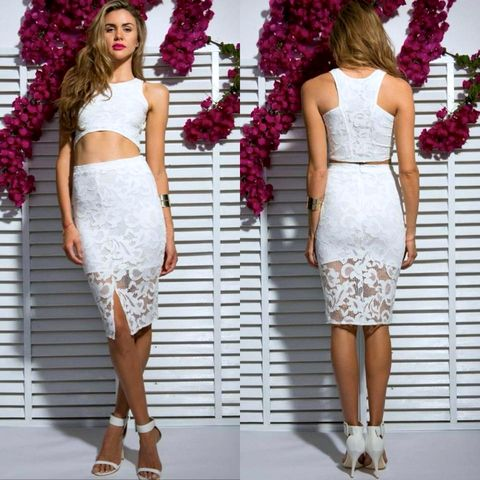 FIRE,ON,MIDI,LACE,SKIRT,-,WHITE