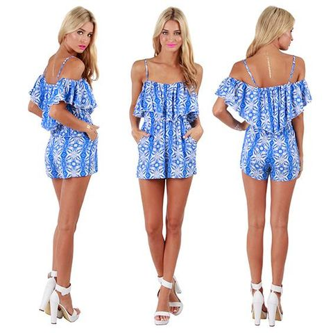 BLUE,ILLUSION,PLAYSUIT