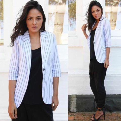 TIPPED,OFF,STRIPED,BLAZER