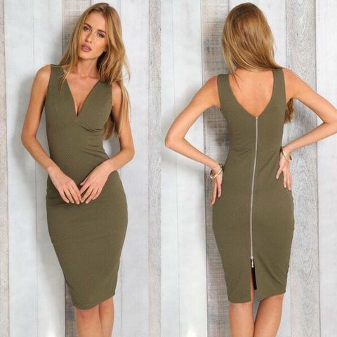 MIAMI,MIDI,DRESS,-,KHAKI