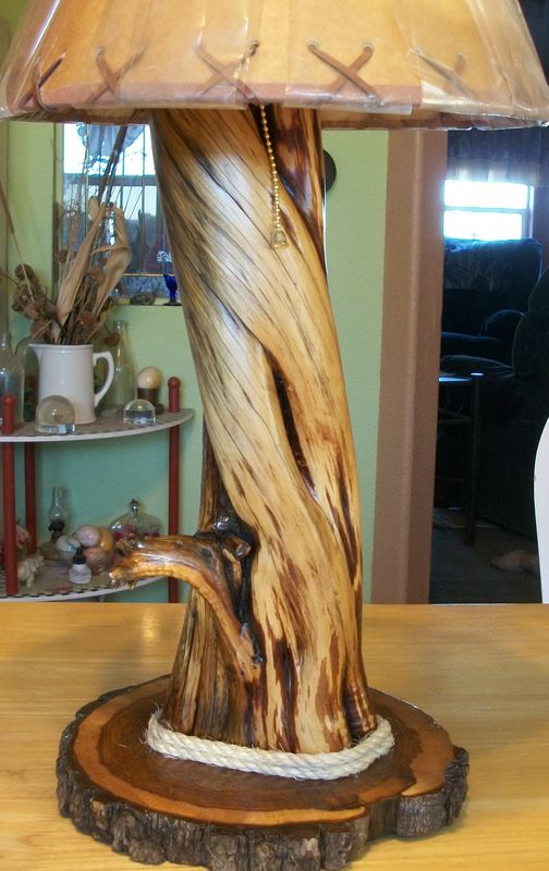 Cedar Twisted Wood Rustic Lamp Naturewhispers