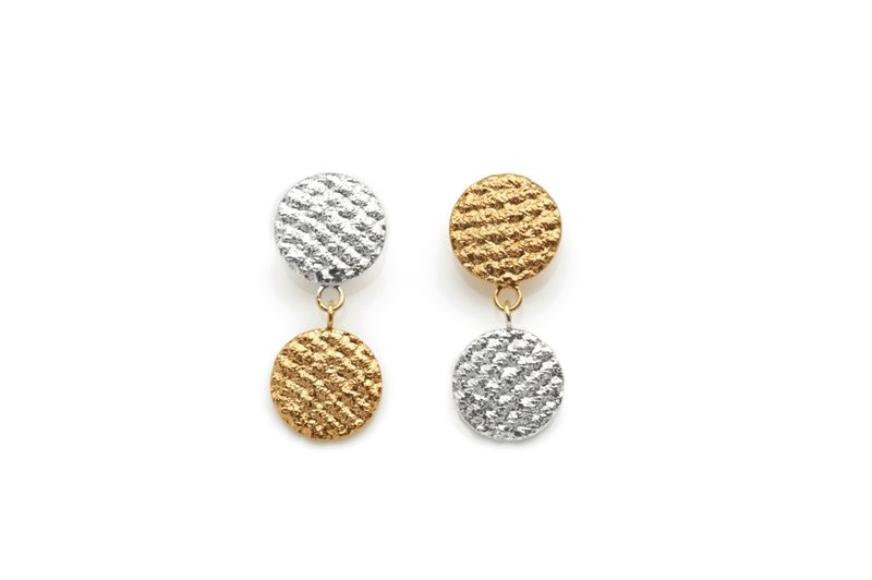 Silver & Gold Two Tone Crochet Drops - product image