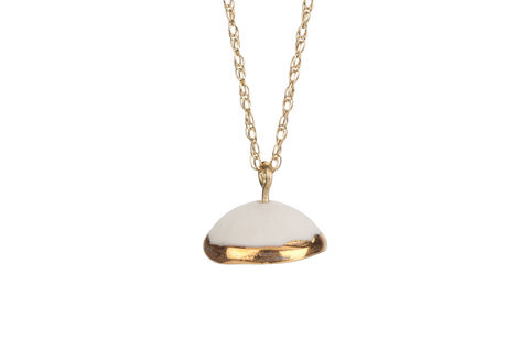 Single,Dome,Necklace,with,9ct,Gold,Chain,necklace, porcelain jewellery, ceramic jewellery, handmade jewellery, gold jewellery, designer jewellery, 18th wedding anniversary gift