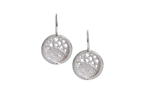 Silver,Lace,Round,Medium,Drop,Earrings,silver earrings,  silver drop earrings, lacey earrings, lace earrings, stylish earrings, handmade earrings